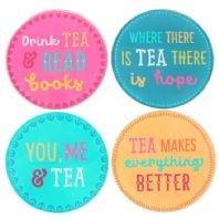 Lovely colourful glass tea coasters set